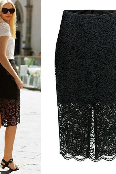 Black Lace Split Back Knee Length Pencil Skirt with Scallop Hem and Split