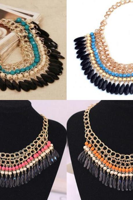 Layered Bohemian Tassels Fringe Drop Vintage Gold Choker Chain Neon Bib Statement Necklace For Women necklaces & pendants