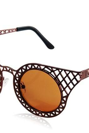 Kadishu 3035 Fashionable Unisex UV Protection Sunglasses with Cut-out Frame (Brown)
