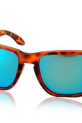 OREKA WG009 Dark Brown TR90 Frame & REVO Coating White-Blue Polaroid Lenses Retro Style Glasses