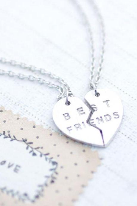 BEST FRIENDS Split Heart Necklace in Silver