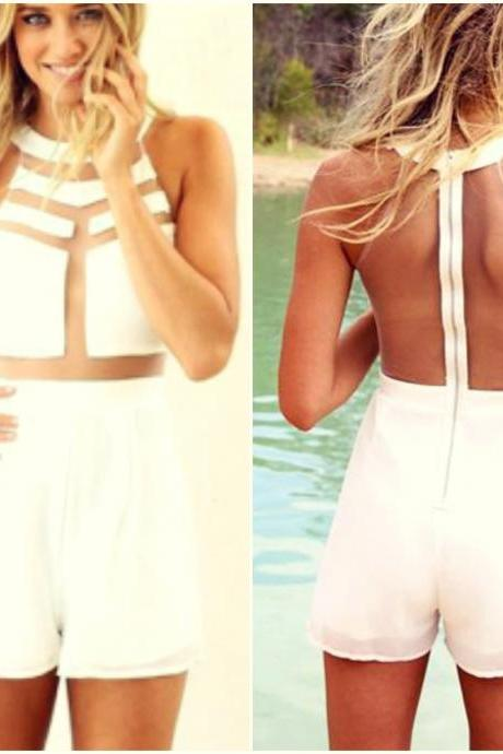 Sexy White Sheer Patch Sleeveless Jumpsuit