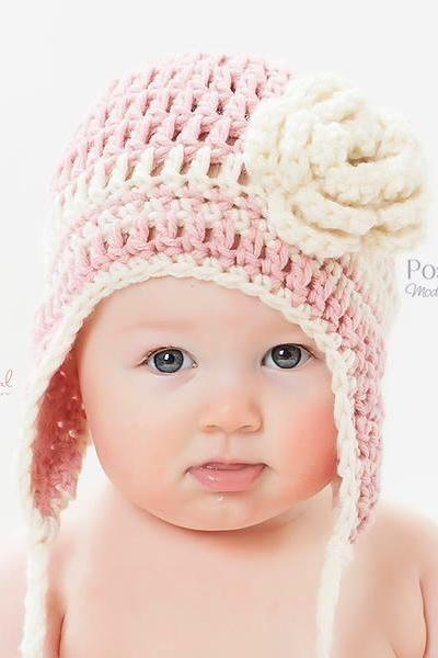 Crochet Hat Pattern - Easy Beginner Earflap Hat Crochet Pattern PDF 120 - Newborn to Adult Sizes