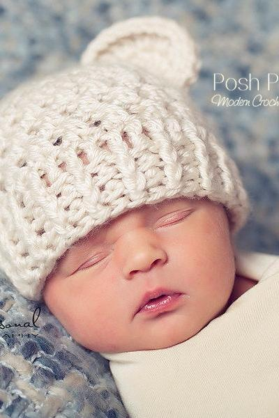 Crochet Hat Pattern - Baby Bear Beanie Crochet Pattern - Newborn to Adult Sizes - PDF 203