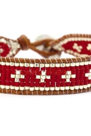 Classic Red White Cross Seed Beaded Single Wrap Bracelet - Artisan Boho Handmade