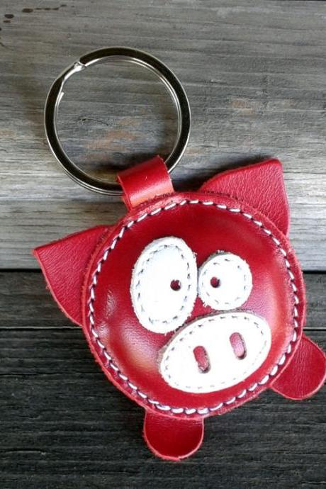 Leather Keychain Pig Red - FREE Shipping Wordlwide - Handmade Leather Pig Bag Charm