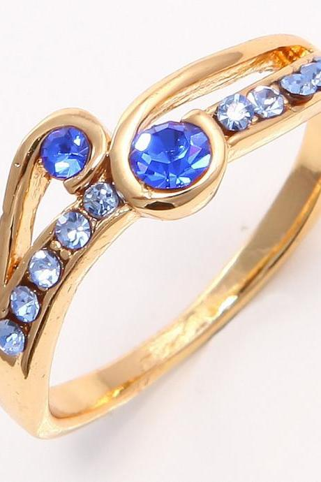 FREE SHIPPING Gorgeous 14k Yellow Gold Filled Blue Topaz Sapphire Womens Ring SZ7.5 P128 wedding gold rings for women