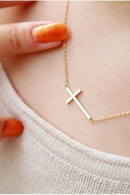FREE SHIPPING!! NEW Lady Horizontal Sideways Cross 14k Gold Plated Pendant Necklace