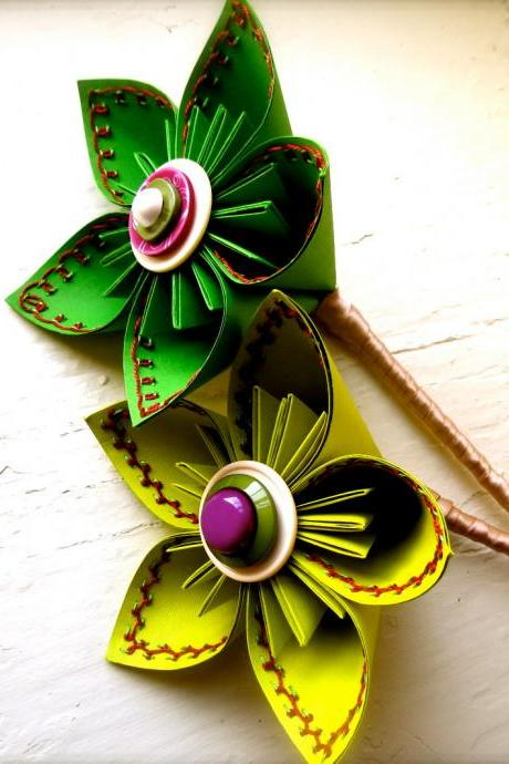 Two Paper Flower Wedding Bouquet, Green, Fuchsia, Large Stitched Kusudama
