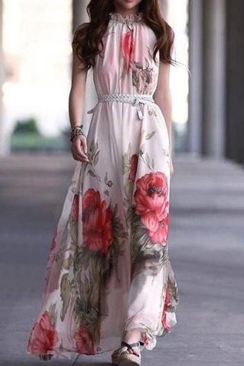 Charming Mandarin Collar Sleeveless Printed Dress for Lady