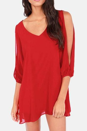Red Chiffon Plunge V Long Cutout Sleeves Short Shift Dress