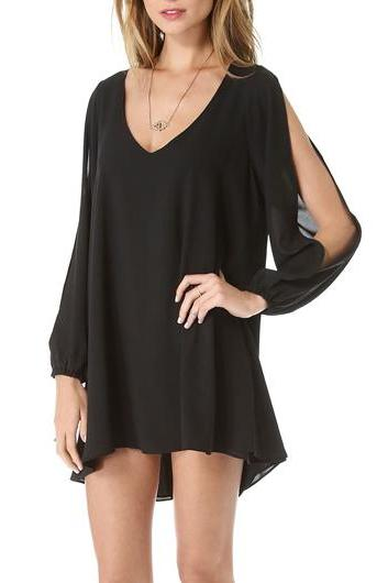 Sexy V Neck Woman Chiffon Dress - Black