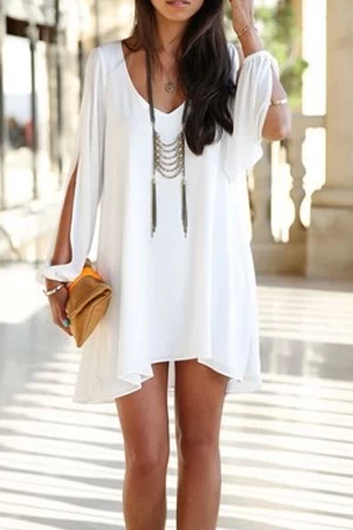 Sexy V Neck Woman Chiffon Dress - White