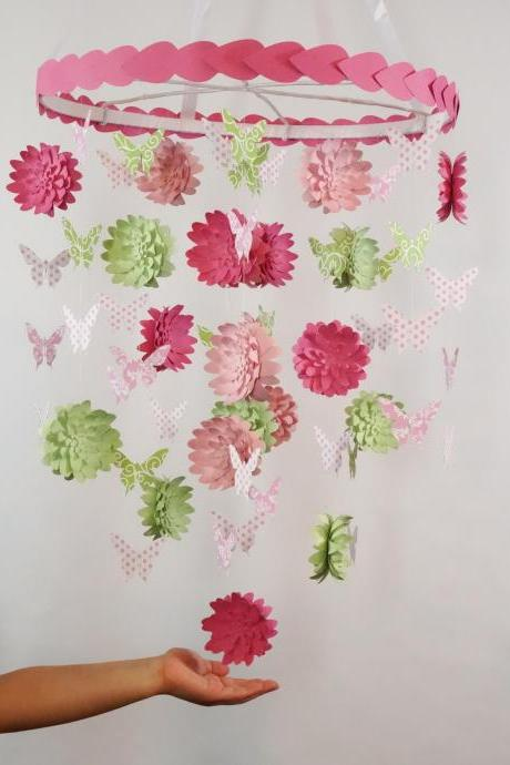 Dahlia and Butterfly Nursery Decorative Mobile with Leaves around hoop