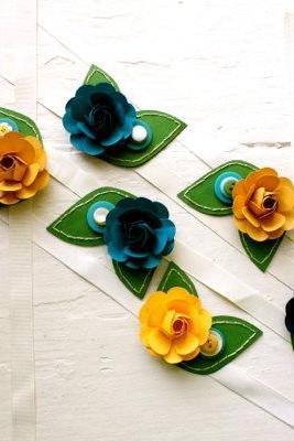 Paper Flower Corsage, Wrist Corsage, Wedding, Blue, Green, Yellow, Rose