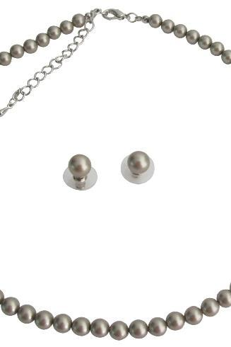 Very Delicate Color Platinum Champagne Latte Color Pearls Jewelry Set
