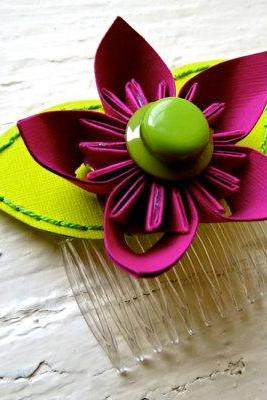 Paper Flower Hairpiece, Headpiece, Comb, Kusudama, Fuchsia, Green