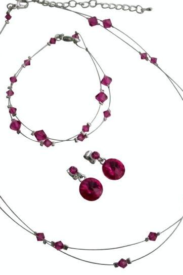 Fabulous Crystals Fuchsia Jewelry Bridal Prom Bridesmaid Complete Set