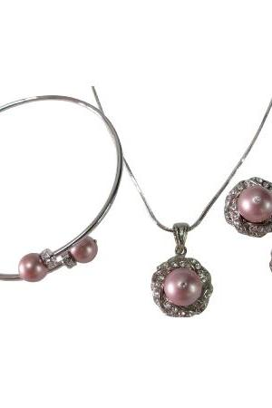 Gift Your Wife Gorgeous Necklace Earring Bracelet Powder Rose Pearl