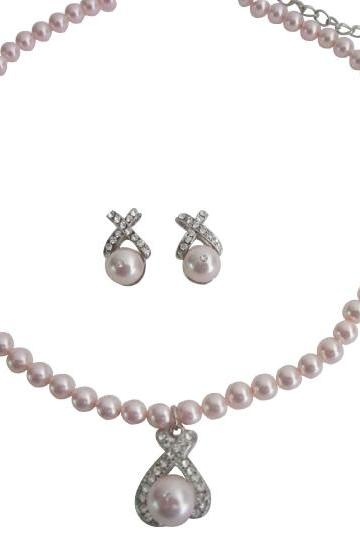 Fashion Jewelry Offer Pink Swarovski Pearls Necklace Earrings Set
