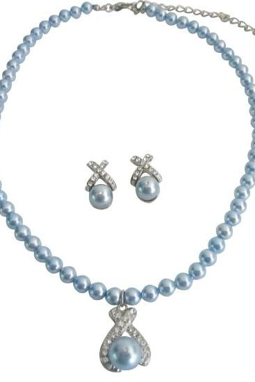 Swarovski Pearls Necklace Earrings w/ Blue Pendant Mother Gift