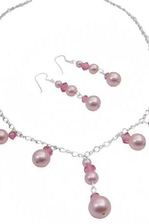 Romantic Rose Crystals & Pink Swarovski Pearls Bridesmaid Necklace Set