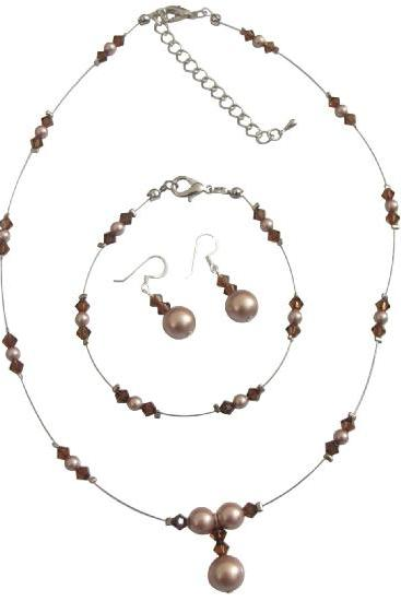 Delicate Champagne Pearls Smoked Topaz Crystals Complete Jewelry Set