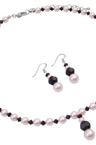 Affordable Gift Girl Friend Wife in Rose Pearls Set