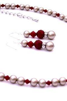 New Platinum Champagne Pearls w/ Coral Red Crystals Low Prices