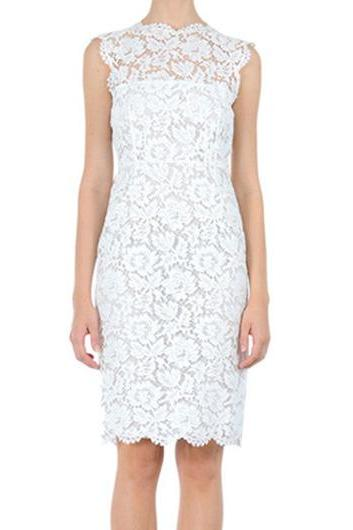 Enchanting Round Neck Sleeveless Lace Knee Length Dress - White