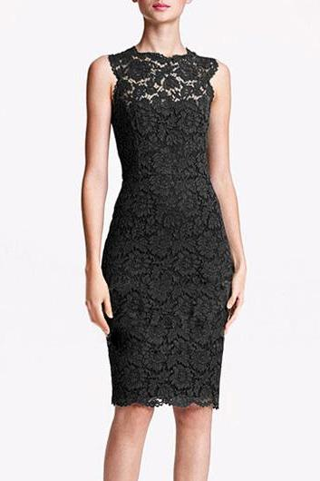 Enchanting Round Neck Sleeveless Lace Knee Length Dress - Black