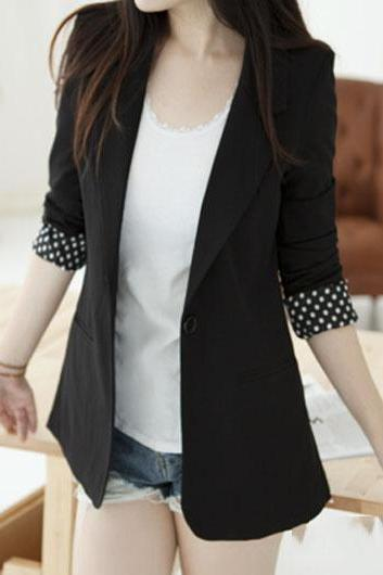 Laconic Long Sleeve Blazer with Back Slit - Black