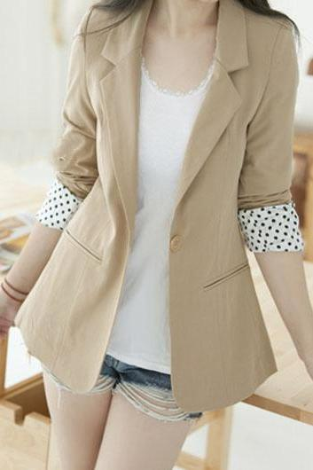 Laconic Long Sleeve Blazer with Back Slit - Khaki