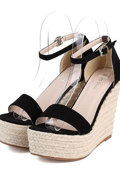 Open-toe Ankle-strap Espadrille Wedges
