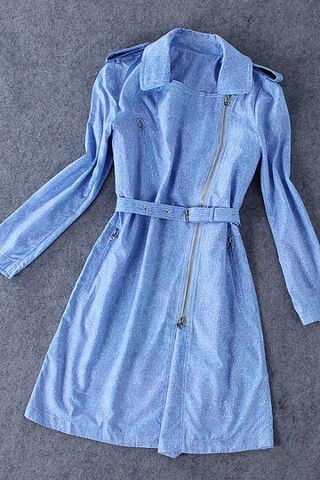 Stylish blue trench coat #BA808J