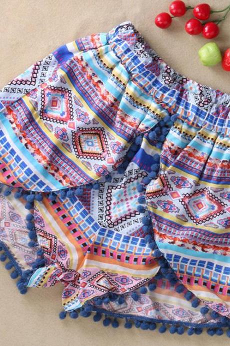 New Summer High Waisted Tassel Festival Tribal Print Beach Casual Gym Shorts