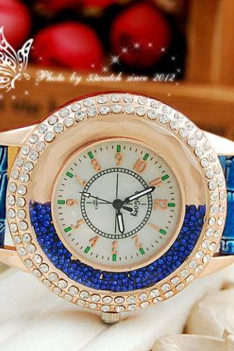 ± FREE SHIP ± Fashion Gogoey Band Leather Strap Ladies Quartz Wrist Watch Women Dress Rhinestone Watches
