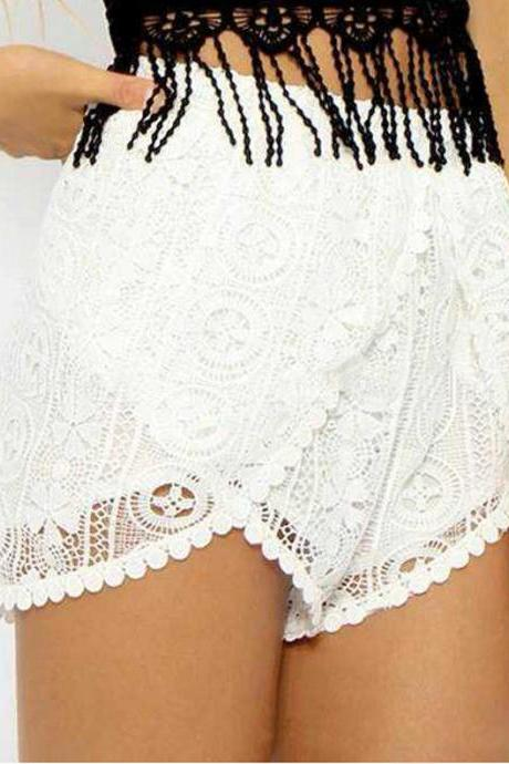 Pom Pom High Waisted Lace Crochet Floral Beach Casual Gym Shorts Short Hot Pants
