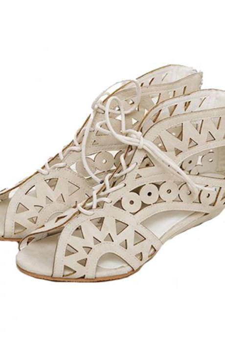 Aztec Cut Out Sandals Flats with Laces in White,Brown and Black