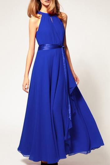 Catching Solid Off The Shoulder Sleeveless Chiffon Dress - Blue