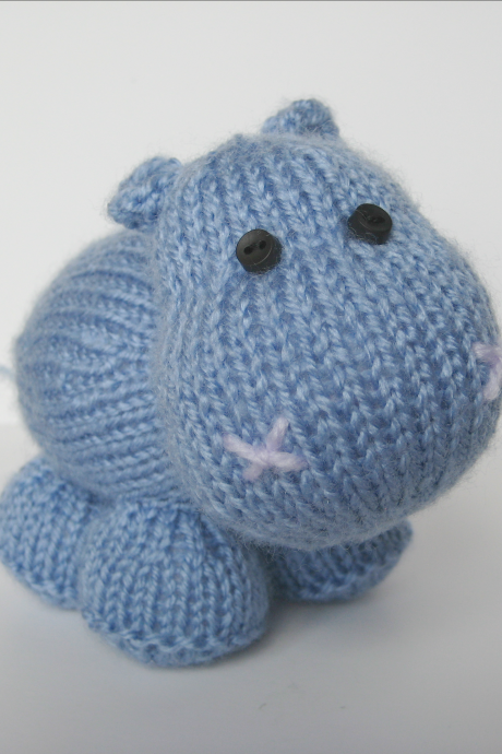 Higgins the Hippo toy knitting pattern