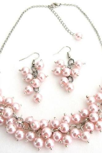 Soft Pink Pearl Chunky Beaded Necklace With Earring Bridal Gift