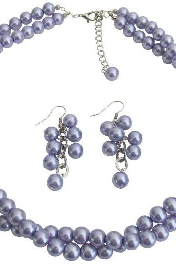 Double Strand Lilac Purple Pearls Twisted Necklace Grape Earrings