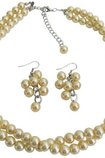 Maid of Honor Jewelry In Yellow Pearls Twisted Necklace With Grape Earrings