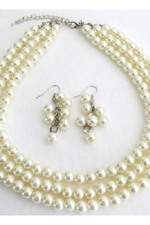 Beautiful Designed Jewelry Ivory Pearl Wedding Bridal Bridesmaid Three Strand Set
