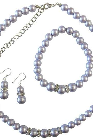 Lavender Pearls Jewelry Set Faux Lavender Pearl Bridemaides Sterling Silver 92.5 Earrings w/ Stretchable Bracelet