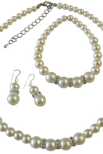 Faux Cream Pearl Bridesmaide Jewelry Set Sterling Silver 92.5 Earrings w/ Stretchable Bracelet