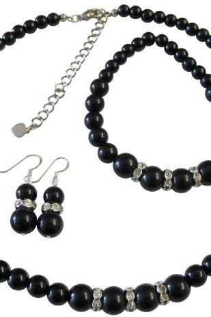 Black Pearls Jewelry Set Immitation Pearls Necklace Set Sterling Silver 92.5 Earrings w/ Stretchable Bracelet