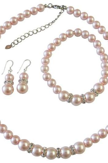 Pink Pearl Jewelry Set Bridal Bridsemaid Faux Pink Pearl Necklace Sterling Silver Earring w/ Stretchable Bracelet