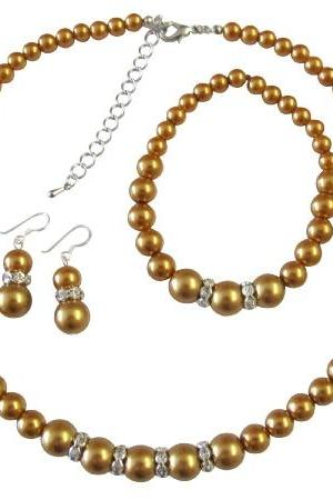 Pearl Jewlery Bridal Bridesmaid Golden Pearl Necklace Sterling Silver Earring w/ Stretchable Bracelet